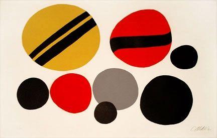 Lithographie Calder - Chevrons Noir Sur Rouge Et Jaune (1960)