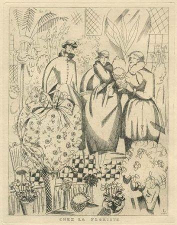 Eau-Forte Laboureur - Chez la floriste (fleuriste)