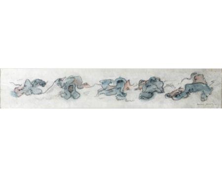 Aucune Technique Tanning - CHIENS FOUS. Aquarelle, crayon gras sur papier Japon nacré