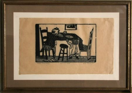 Linogravure Barnet - Child Reaching