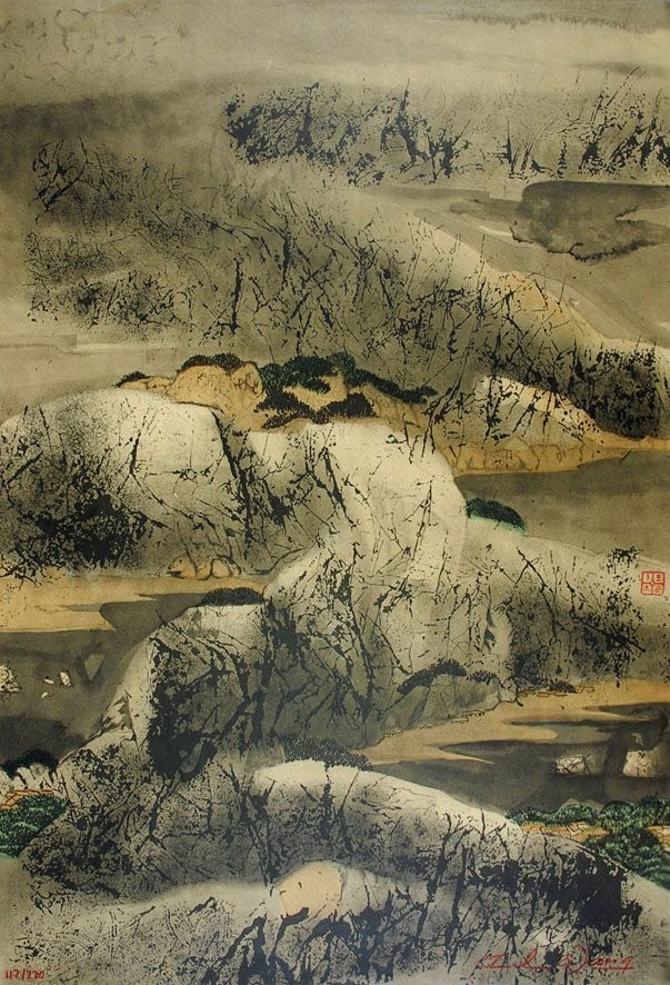 Lithographie Wang - Chinese mountain landscape