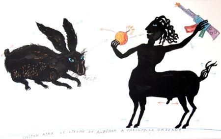 Lithographie Waydelich - Chiron atak le lièvre