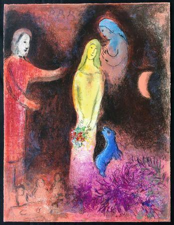 Lithographie Chagall - CHLOÉ VÊTUE ET COIFFÉE PAR CLÉARISTE (Daphnis & CHLOÉ - 1961)