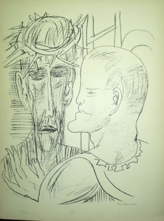 Lithographie Beckmann - Christ and Pilate