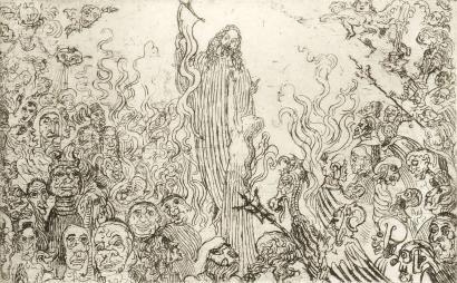 Eau-Forte Ensor - Christ descendant aux enfers