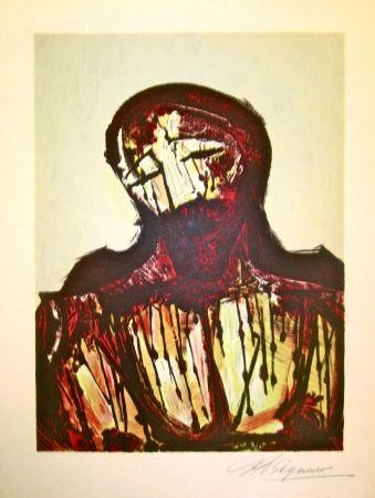 Lithographie Siqueiros - Christ Portrait