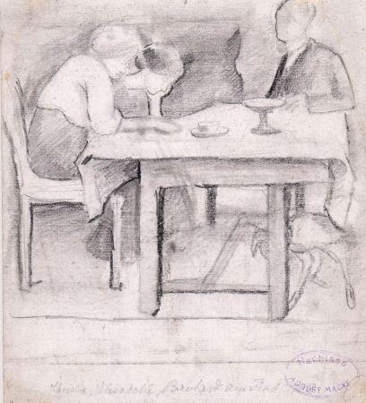 Aucune Technique Macke - Christa, Elisabeth, Bernhard am Tisch. Verso: Geburtstagstisch für Sofie Gerhardt.