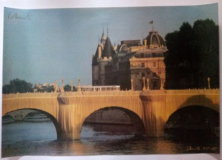 Affiche Christo - Christo's Wrapped Pont Neuf Paris - Handsigned