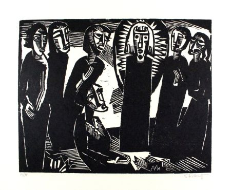Gravure Sur Bois Schmidt-Rottluff -  Christus unter den Frauen / Christ among the Women