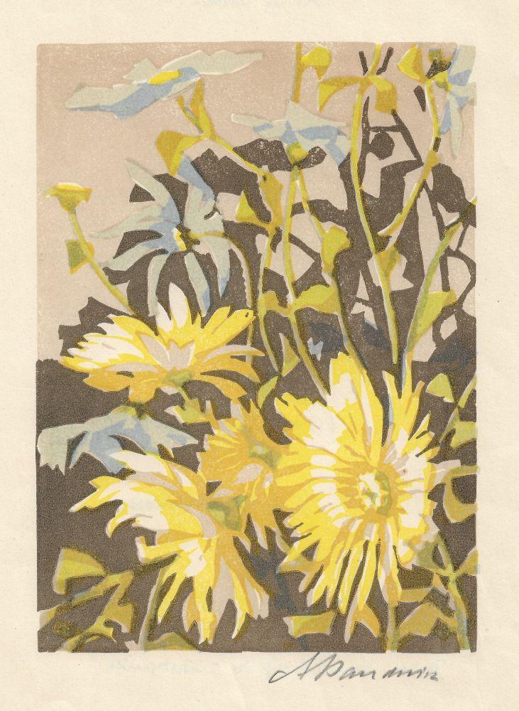 Gravure Sur Bois Baudnik - Chrysanthemen