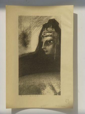 Lithographie Redon - Cime noire