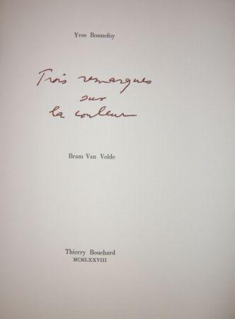 Livre Illustré Van Velde - Cinq remarques sur la couleur