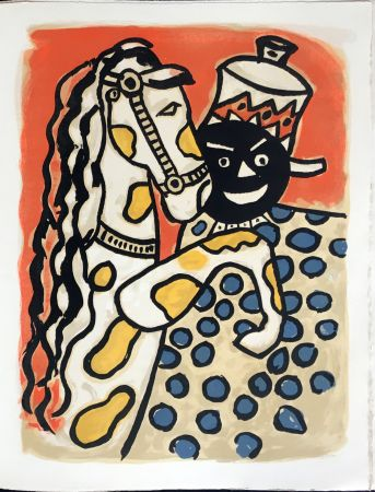 Lithographie Leger - Cirque : Clown et Cheval. 1950