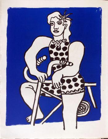 Lithographie Leger - Cirque : Cycliste sur fond bleu. 1950