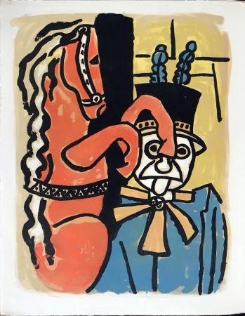 Lithographie Leger - Cirque : Dompteur et cheval. 1950
