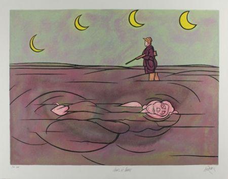 Lithographie Adami - Clair de lune