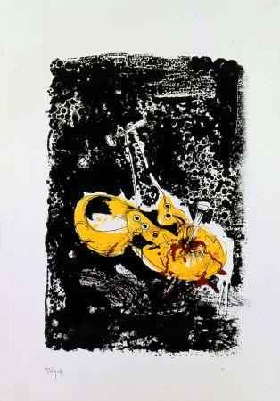 Lithographie Rebeyrolle - Cloué au sol