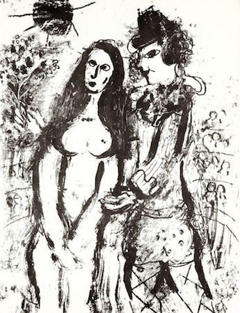 Lithographie Chagall - Clown in Love