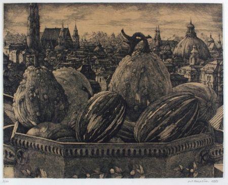 Gravure Desmazières - Coliquintes devant un ville