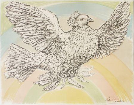 Lithographie Picasso - Colombe À L'arc En Ciel