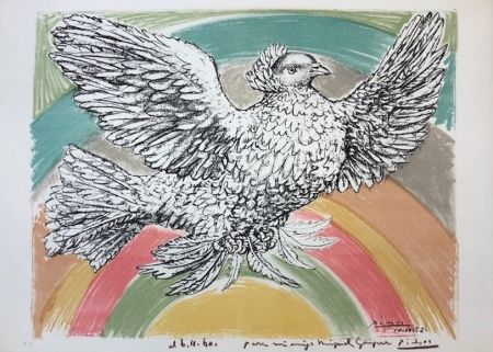 Lithographie Picasso - Colombe volant
