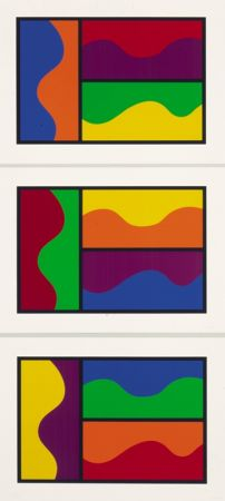 Sérigraphie Lewitt - Colors Divided By Wavy Lines