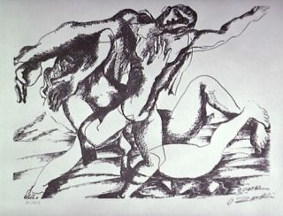 Lithographie Zadkine - Combat avec l'Amazone Hippolyte