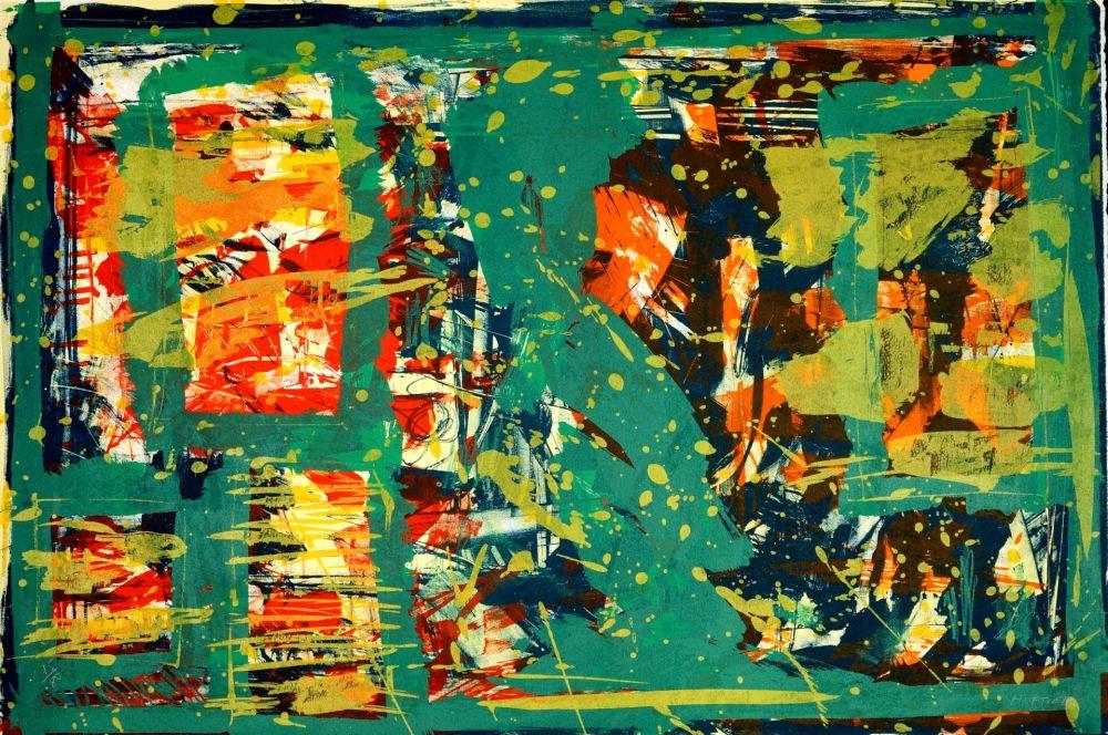 Lithographie Huftier - Comme un tableau