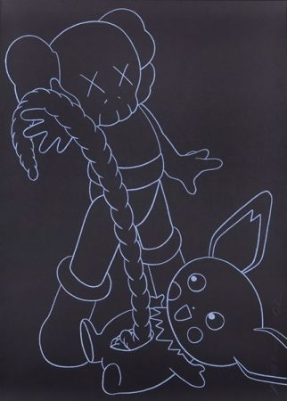 Sérigraphie Kaws - Companion vs. Pikachu