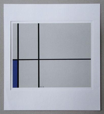 Sérigraphie Mondrian - Compositie met blauw - 1938