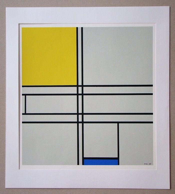 Sérigraphie Mondrian - Compositie met blauw en geel - 1935