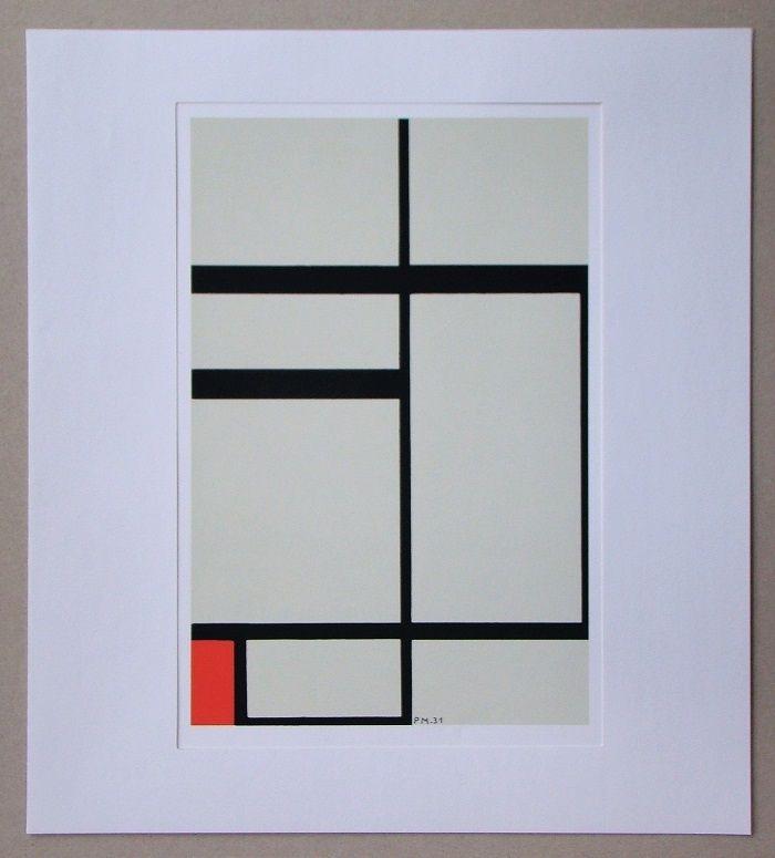 Sérigraphie Mondrian - Compositie met rood - 1931