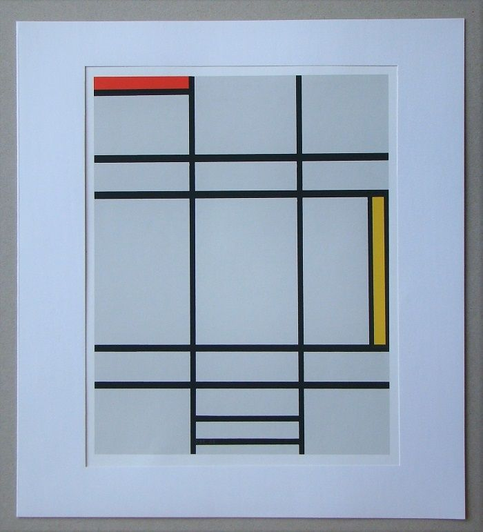 Sérigraphie Mondrian - Compositie met rood en geel - 1935