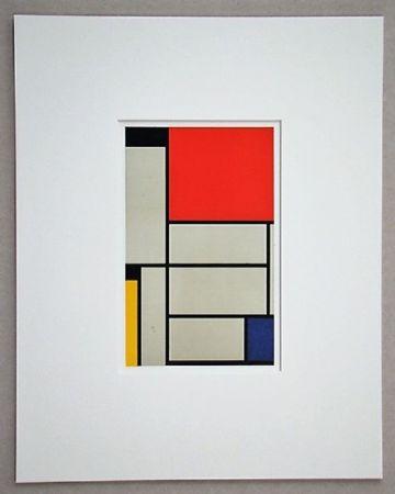 Lithographie Mondrian - Compositie met rood, geel, blauw, zwart en grijs