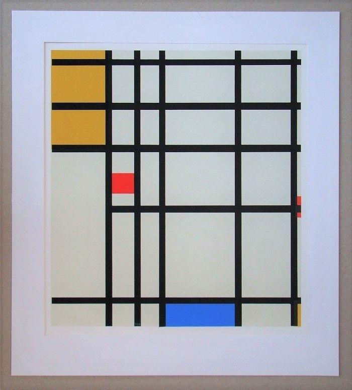 Sérigraphie Mondrian - Compositie met rood, geel en blauw - 1936/43