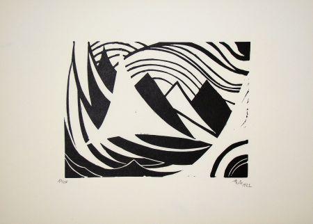 Gravure Sur Bois Maatsch - Composition, 1922
