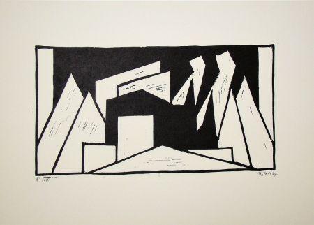 Gravure Sur Bois Maatsch - Composition, 1924