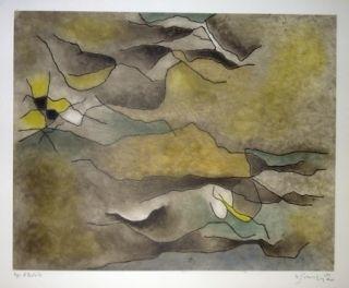 Eau-Forte Et Aquatinte Singier - Composition abstraite