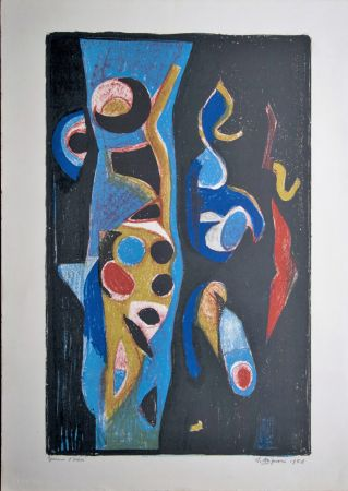 Lithographie Brignoni - Composition abstraite