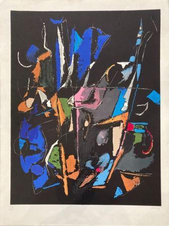 Lithographie Lanskoy - Composition abstraite sur fond noir
