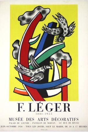 Lithographie Leger -  Composition au 2 Oiseaux 1955    Musée  des Arts Décoratifs  1956