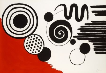 Lithographie Calder - Composition au serpent noir