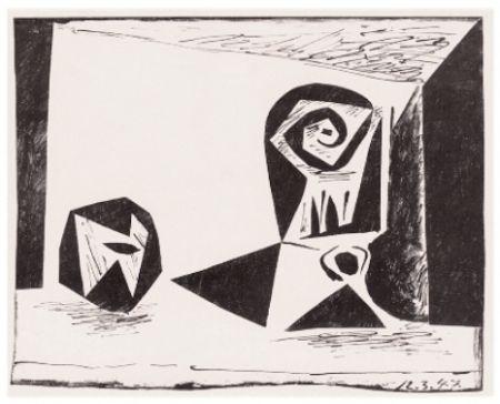 Lithographie Picasso - Composition Au Verre À Pied