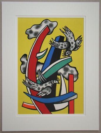 Lithographie Leger - Composition aux deux oiseaux sur fond jaune, 1955