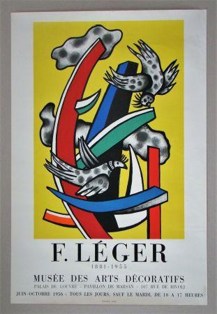 Affiche Leger - Composition aux deux oiseaux sur fond jaune, 1955