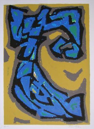 Lithographie Blass - Composition blau auf ocker