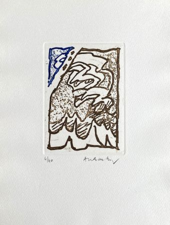 Gravure Alechinsky - Composition bleu