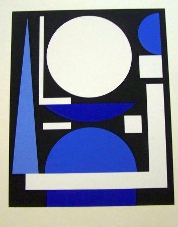 Sérigraphie Herbin - Composition bleu
