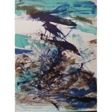 Lithographie Zao - Composition bleu et brune