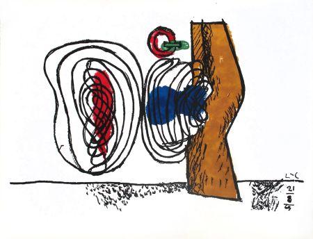 Lithographie Le Corbusier - Composition bleu et rouge